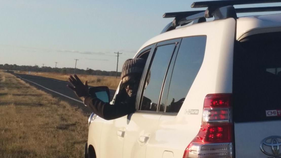 On the road - Cyril waving :-)